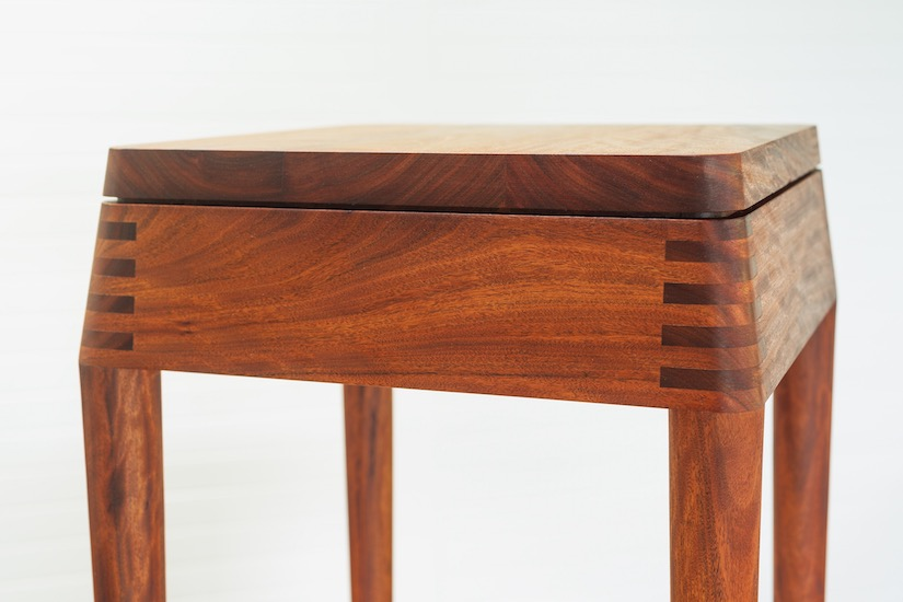 Versatile wooden stool made by Anew from recycled Australian hardwood