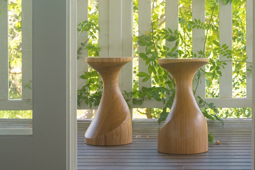 Sculptural wooden stool made by Anew from American White Oak
